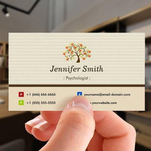 Customizable Psychologist Elegant Tree Symbol Business Card Psychologist Business Card Business Card Design Business Cards