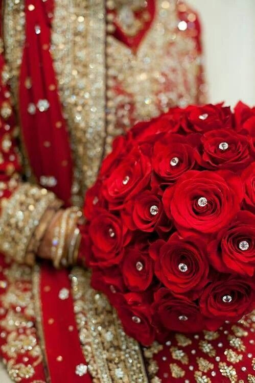 Indian Wedding Bouquet Of Perfect Roses With Diamonds Between
