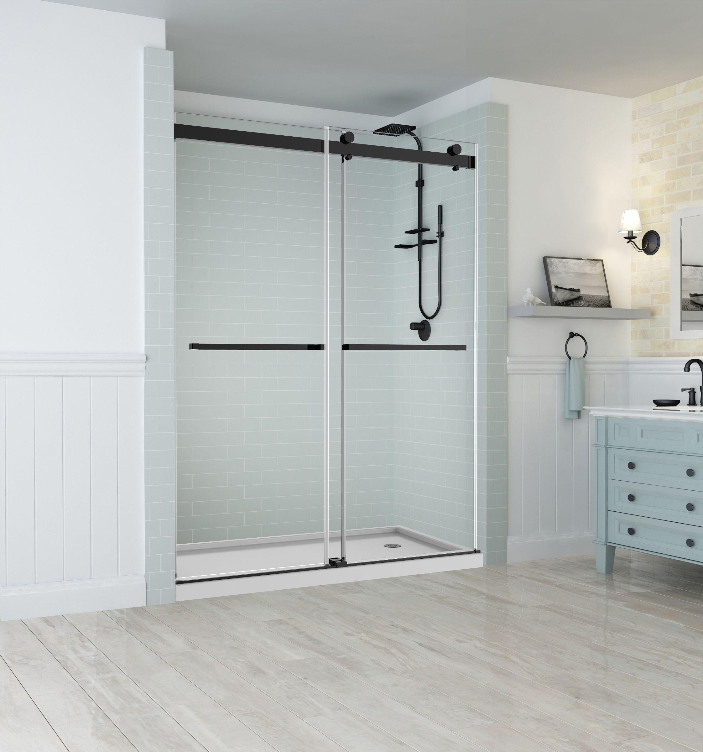 Sdr977 Rivage Frameless Dual Bypass Sliding Shower Door With Starcast Coating Shower Doors Sliding Shower Door Frameless Shower Doors