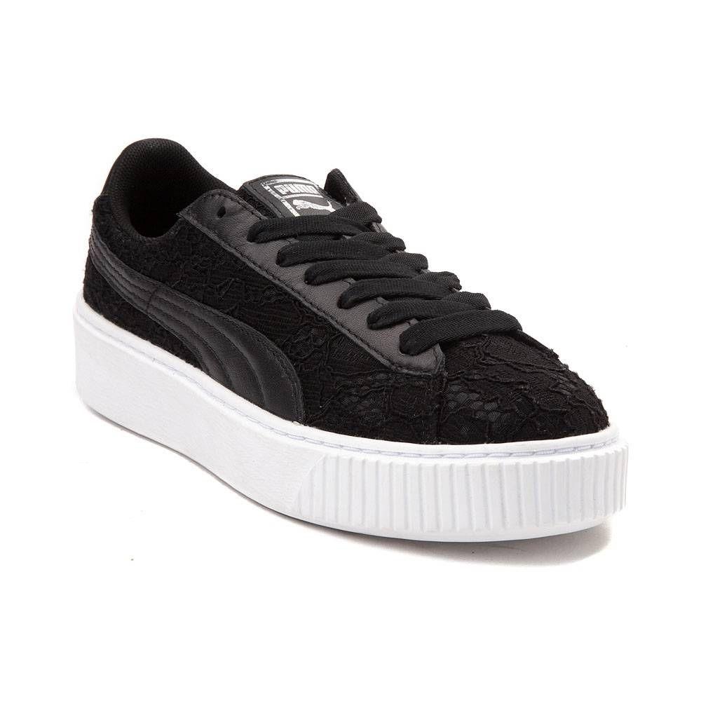 a640c1c8af1d Womens Puma Basket Platform Athletic Shoe - Black - 361728 ...