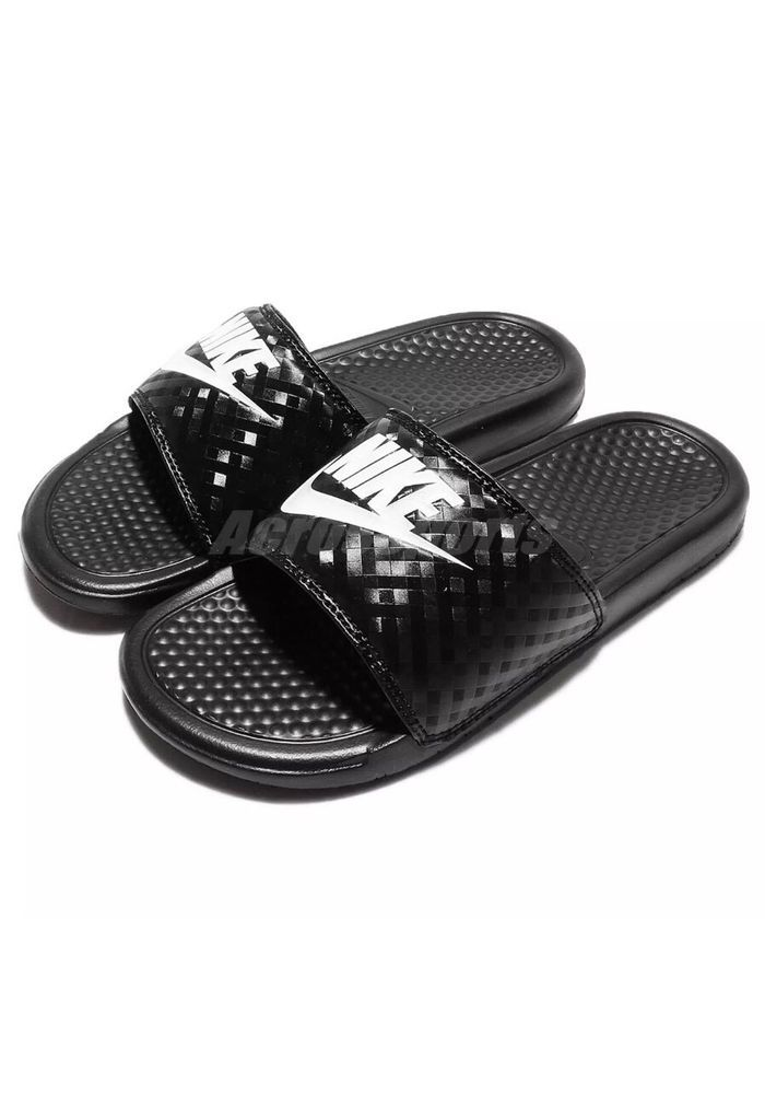 1b79df7374a5 NIKE WOMENS BENASSI JDI SLIDE 343881 011 BLACK WHITE WOMEN US SZ 9  Nike