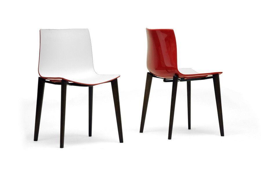 Soren White Red Modern Dining Chair - Set of 2
