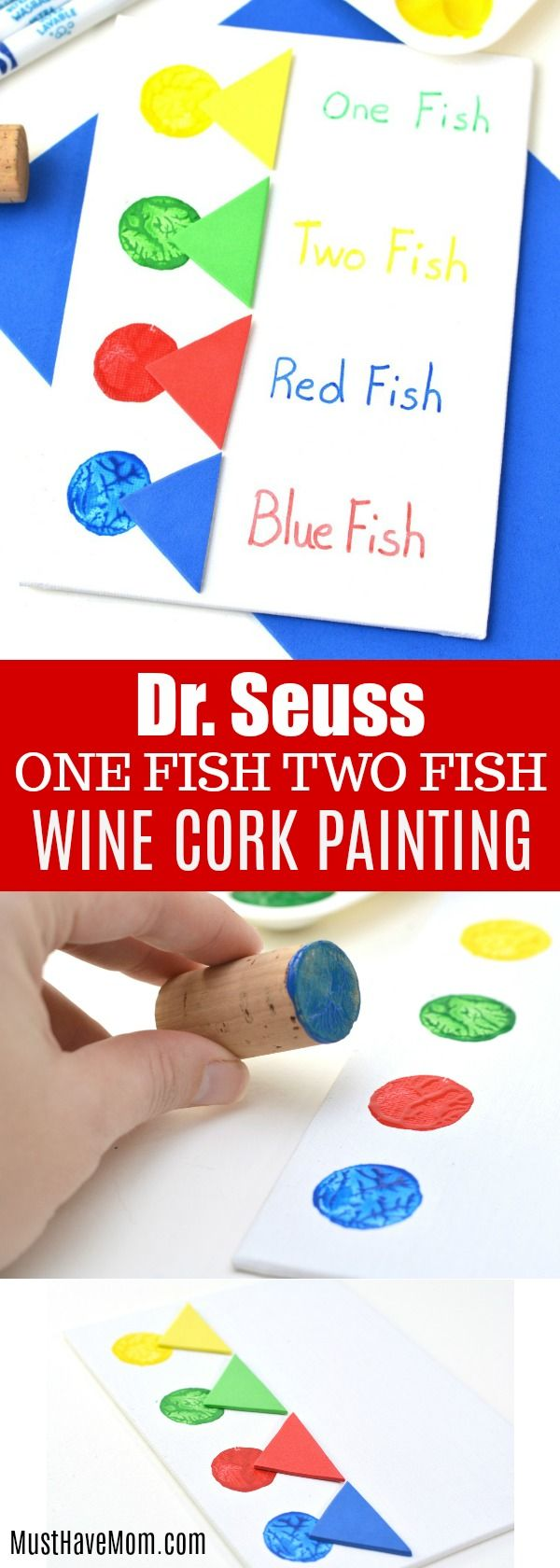Dr. Seuss Crafts One Fish Two Fish Kids Wine Cork Painting | Fish ...