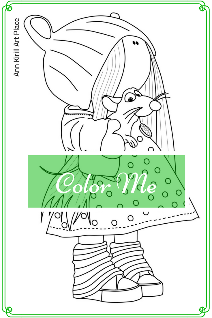 Color Me Page, Coloring Art Doll, Girl Digital Stamp, Handmade Doll ...
