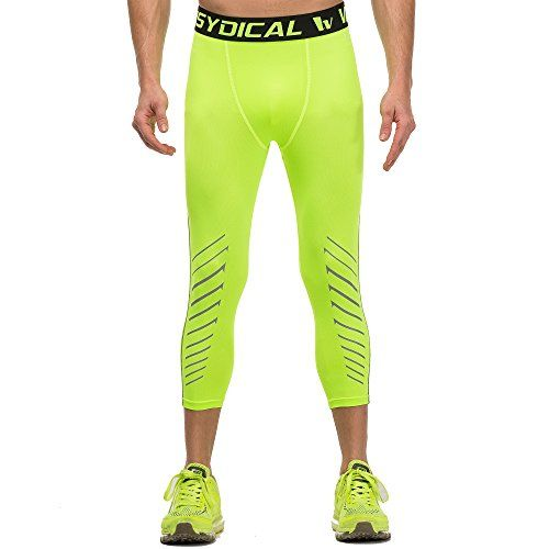 Mens Workout Yoga Running 34 Compression Leggings Tights