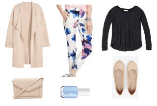 Floral print pants, black shirt, tan cardigan, tan shoes, baby blue nail polish