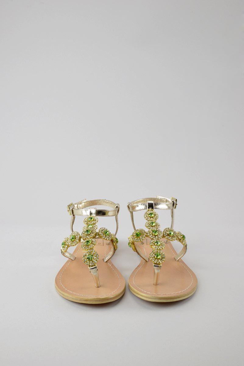 Sandalo gioiello donna infradito oro bassi. - Ronca 1862 srl - Sandali donna  infradito gioiello