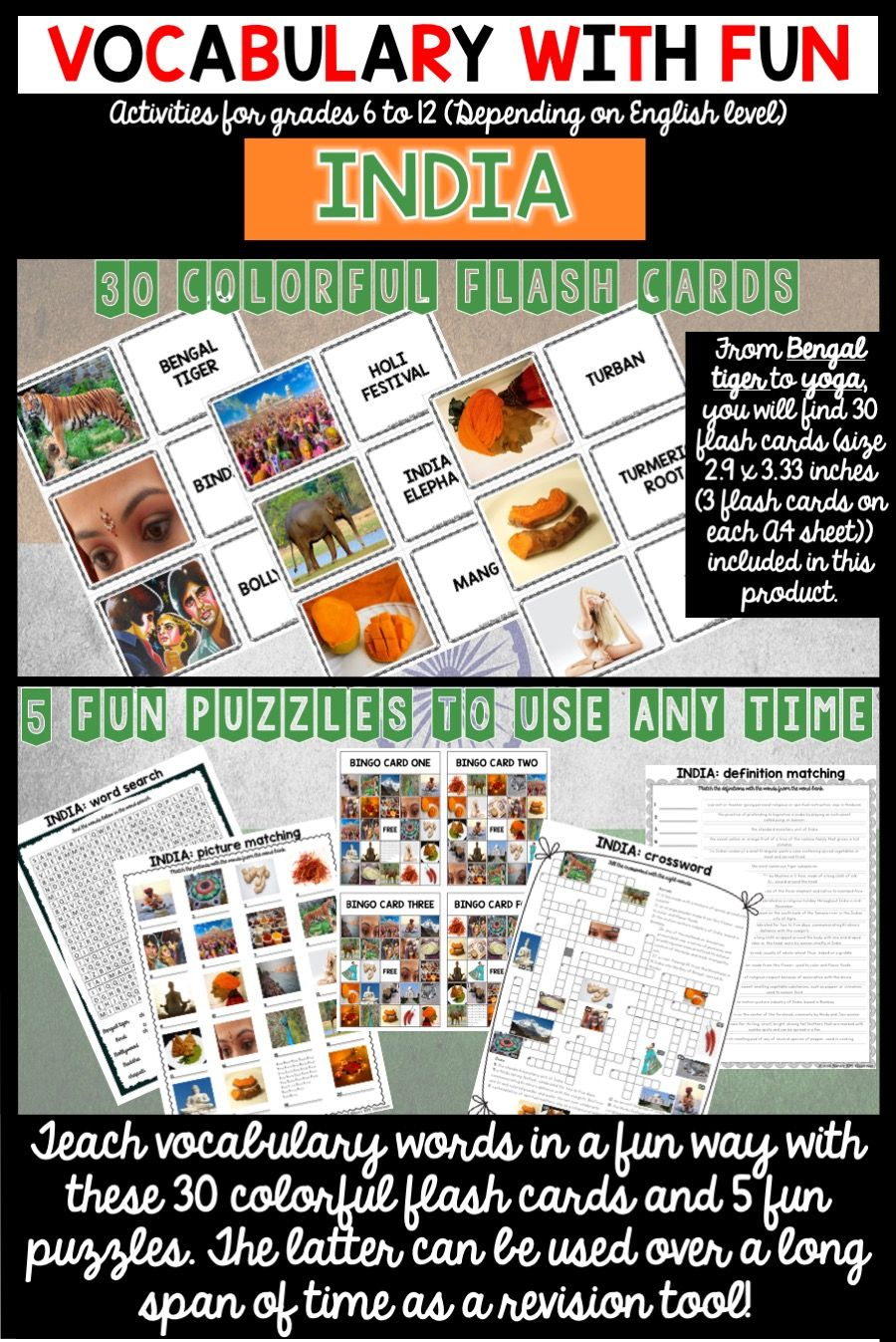 India 5 Word Puzzles And 30 Photo Flash Cards Flashcards Word Puzzles Vocabulary Words
