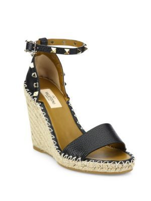 69052d7f955 VALENTINO Rockstud Leather Espadrille Double Wedge Sandals.  valentino   shoes  sandals