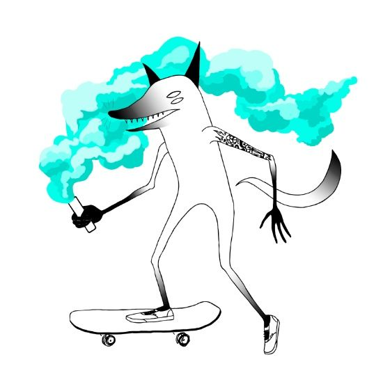Fox skateboarder Art Print