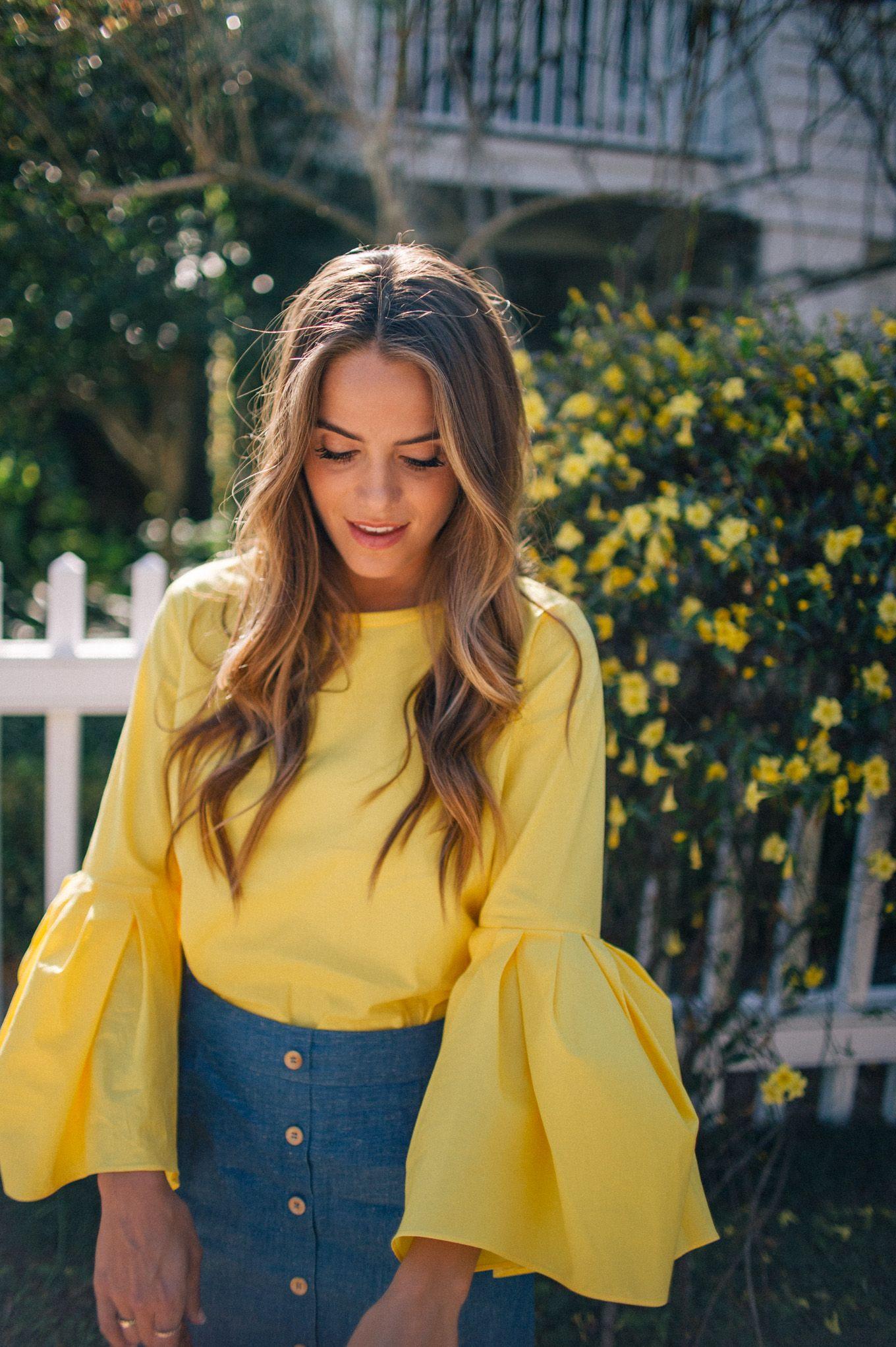 f8a1632adddc8 Gal Meets Glam Yellow Bell Sleeved Top - Zara top   Sezane skirt