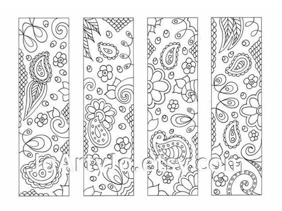 downloadable bookmarks to color paisley printable coloring zentangle inspired sheet 16