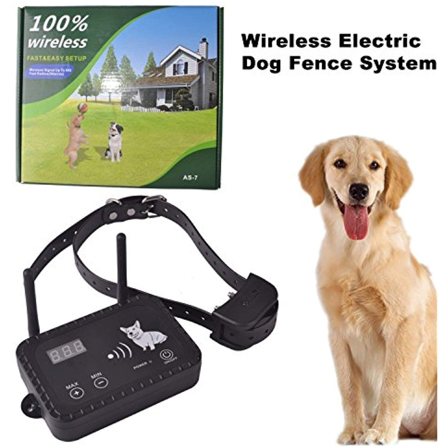 Okpet Wireless Electric Dog Fence System Outdoor Invisible Dog Fence Containment System Vibration Dogs With Images Invisible Fence Dog Fence Electric Fence