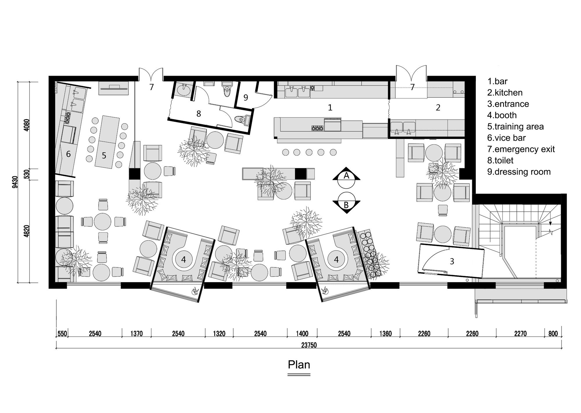Kale café yamo design floor plans and