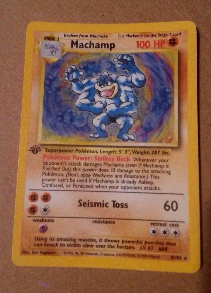 pokemon base set Machamp 8//102 played condition