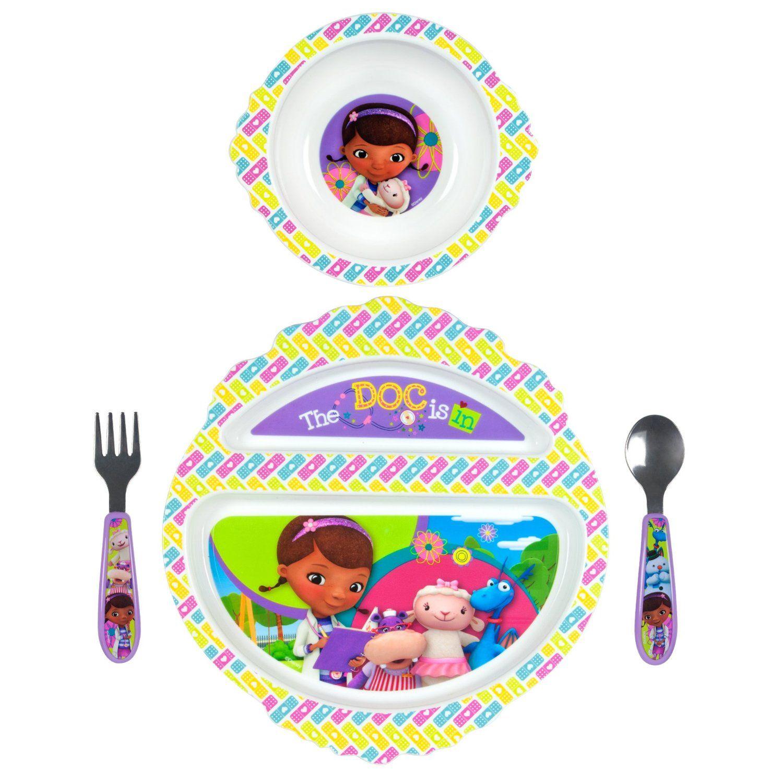 Doc McStuffins Dinnerware set 4 pieces spoon fork ided plate bowl  sc 1 st  Pinterest & Doc McStuffins Dinnerware set 4 pieces spoon fork ided plate bowl ...