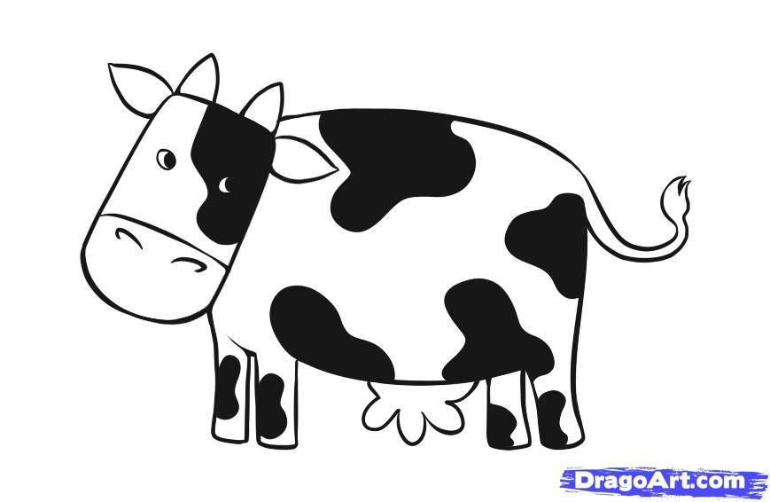 How To Draw A Simple Cow Step By Step Farm Animals Animals Cow Drawing Cow Mural Kids Drawing Projects