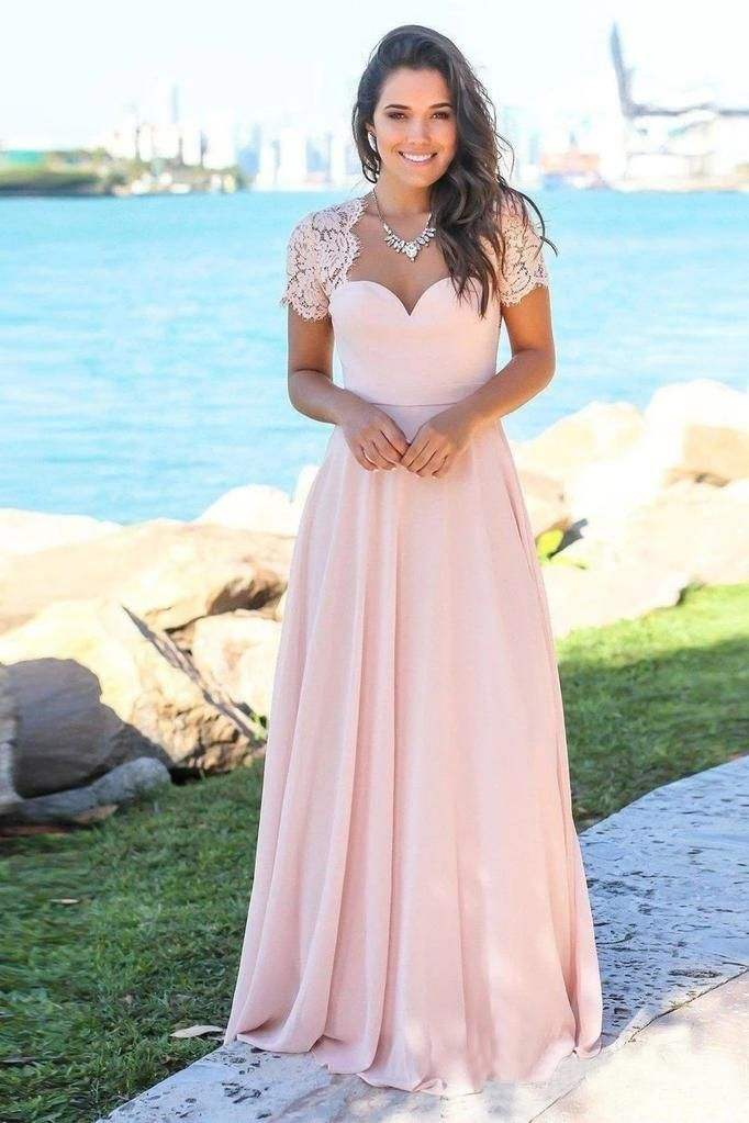 Blush Pink Sweetheart Maxi Dresses Open Back Lace Sleeve Beach Wedding Guest Dresses SSA15566 #weddingguestdress