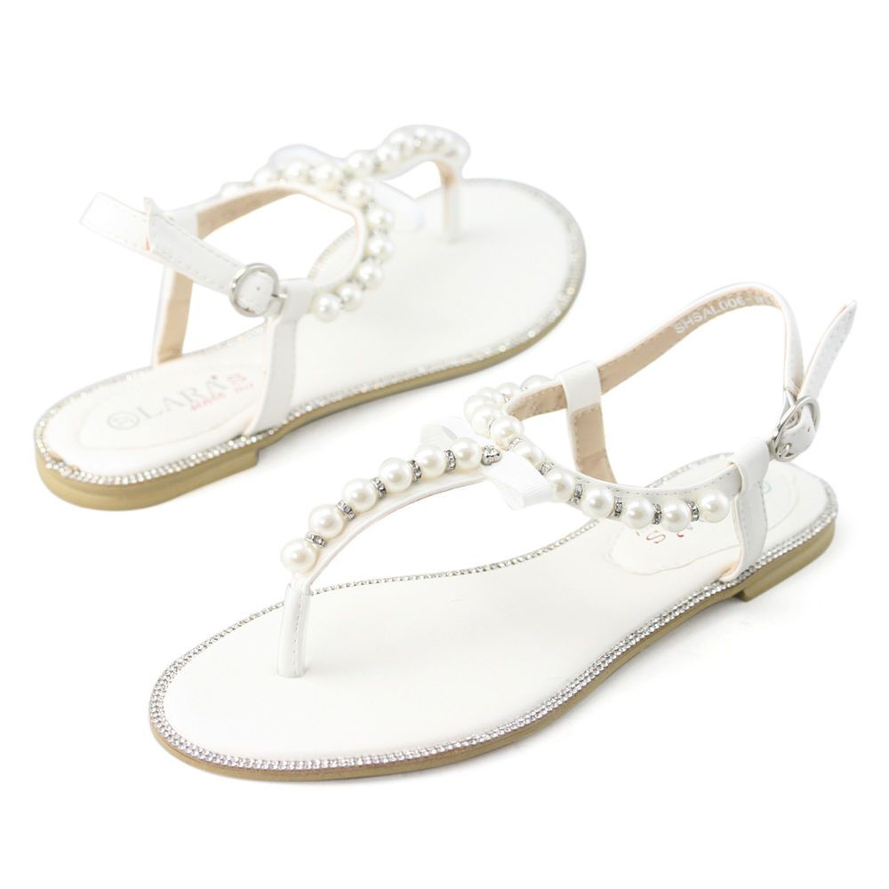 Womens White Rhinestone Flat Pearl Leather Sandals Wedding Beach Holidays Shoes