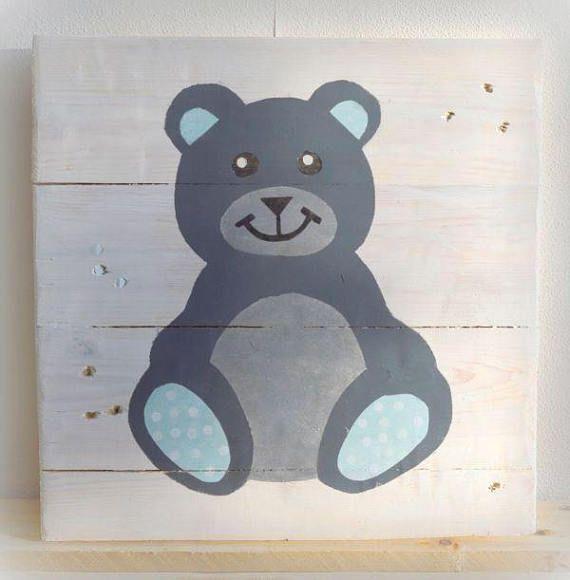 Tableau Nounours Bleu Garçon Décoration chambre Enfant Nursery art