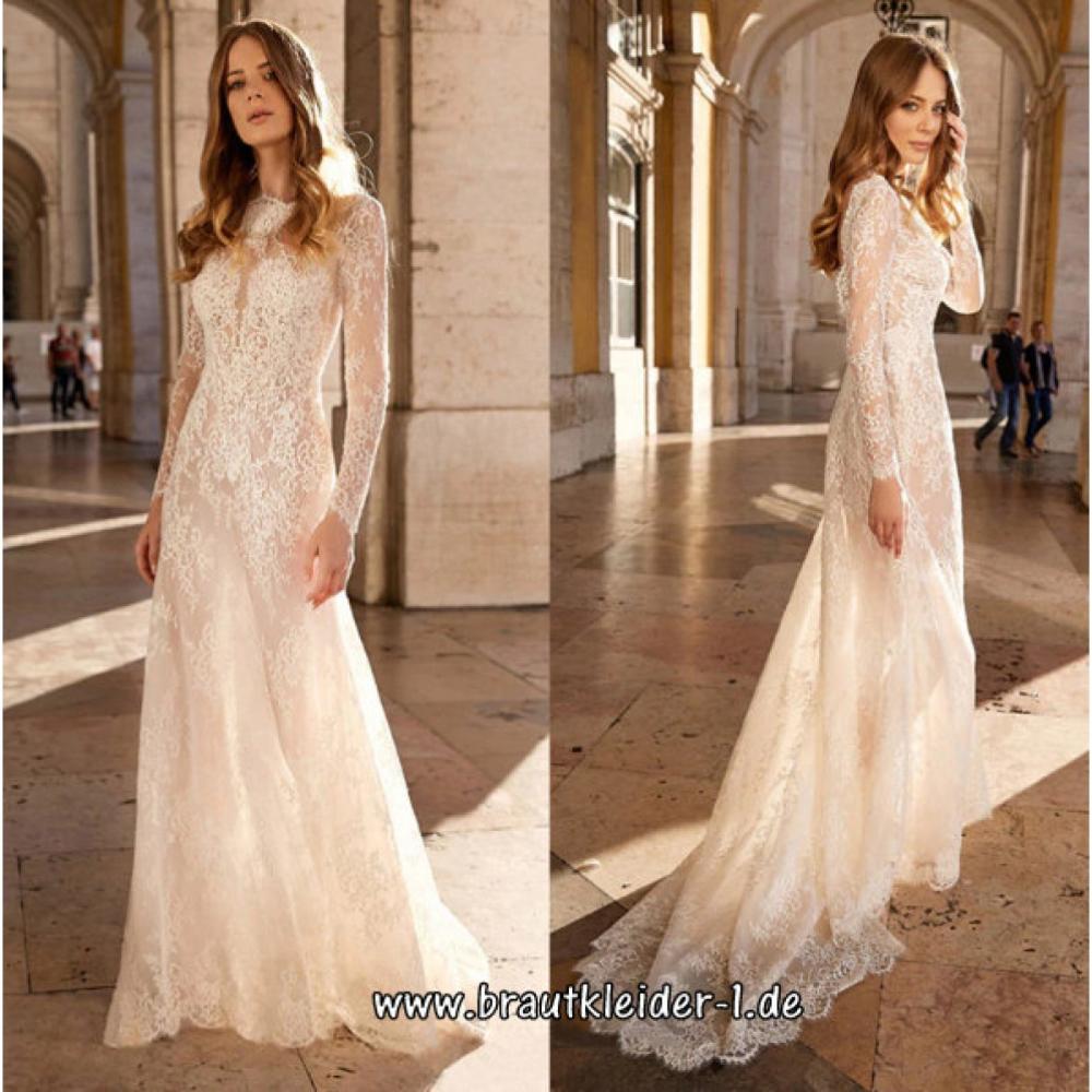 Langarm Standesamt Kleid Hochzeitskleid in Weiß aus Spitze
