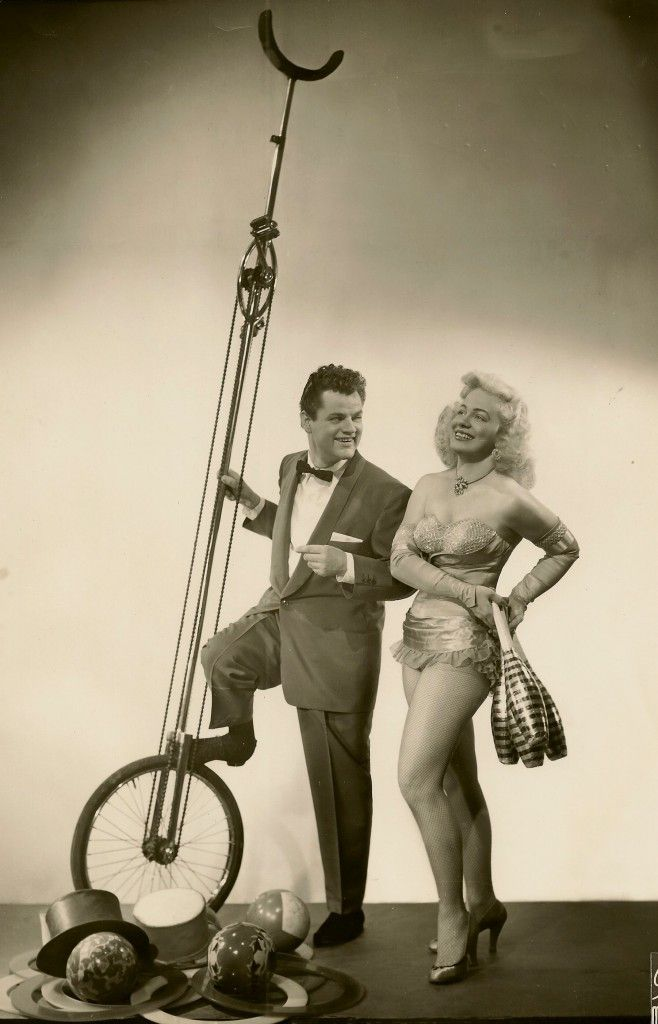 Payo & Mai, 1954 was that a giant unicycle in your pocket or are you just pleased to see me...cool vintage circus photo
