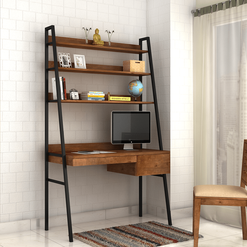 Olay Loft Study Table With Bookshelf Teak Finish Online In India Wooden Street