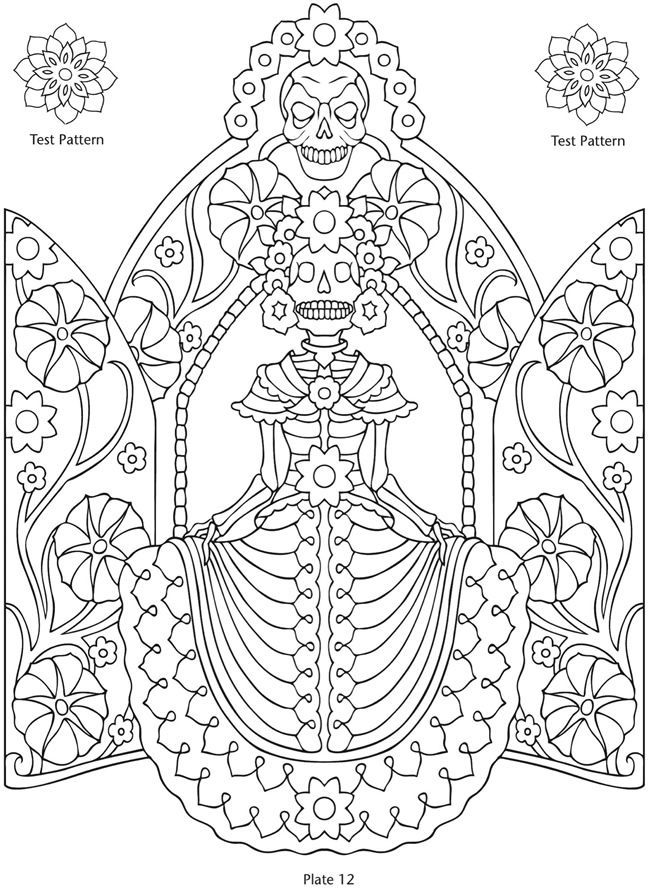 Day of the Dead Printables Coloring Pages Patterns Dover ...