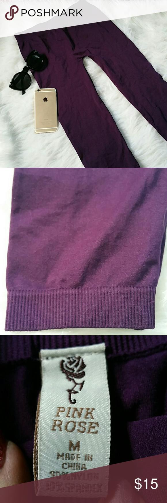 "(PINK ROSE)- PURPLE PASSION Size med Nylon n spandex blend 27"" long BNWOT Pink Rose Pants"