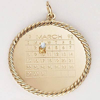 Anniversaries, Birthdays and Special dates can be added to this calendar charm and we will highlight the day with a sparkly diamond so you know that day is treasured. Charms available in sterling silver or gold.