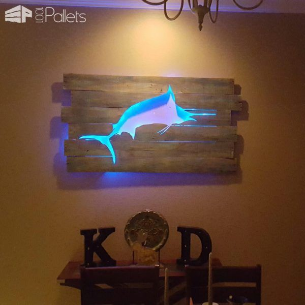 Backlit Pallet Wall Art | DIY | Pallet wall decor, Pallet