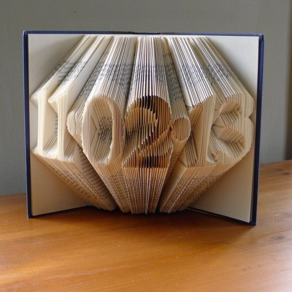 Folded Book Art Anniversary Gift For Him Her Wedding