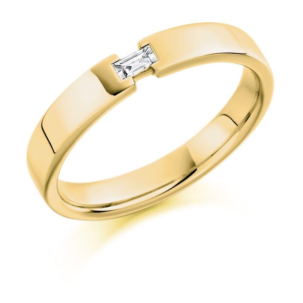 Lance James Wedding & Eternity Mens 9ct Yellow Gold Single 0.07ct Diamond Wedding Band