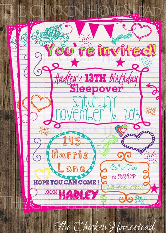 Custom Girls Sweet 16 Sleepover Doodle Birthday Invitation Digital Printable Invite