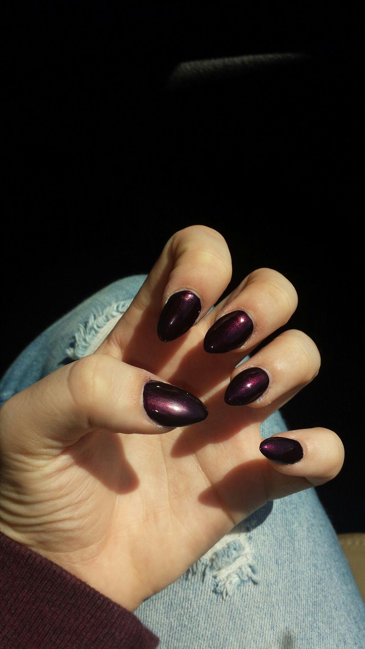 Almond shape nails, Deep purple nails, Almond Purple nails,red nails ...