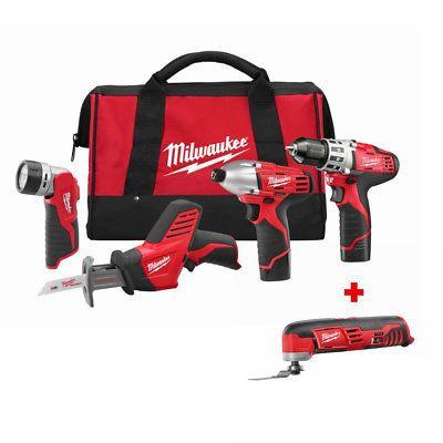 milwaukee 2498-24 m12 4 - tool combo kit with free 2426-20 multi ...