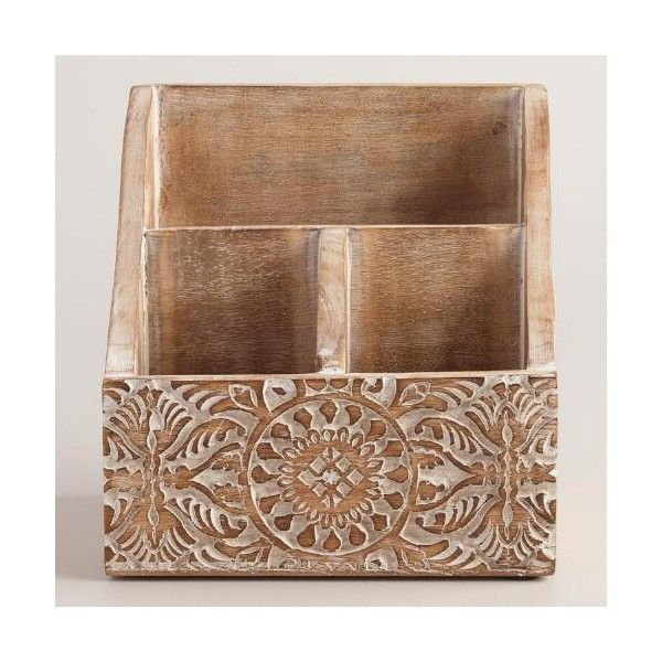 Cost Plus World Market Mini Hand Carved Wood Gianna Desk Organizer 15 Liked On Polyvore Featur Desk Organization Wood And Metal Desk Wooden Desk Organizer