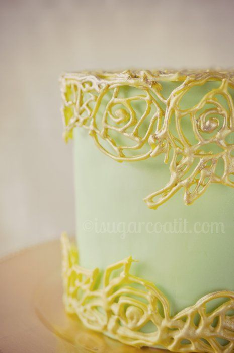 Gilded cage piped from royal icing dresses up a sage green cake. Technique learned from Craftsy course – Vintage Cakes, Modern Methods. I thoroughly enjoyed making this.    -- Jaquee http://www.isugarcoatit.com | http://www.facebook.com/ISugarCoatIt