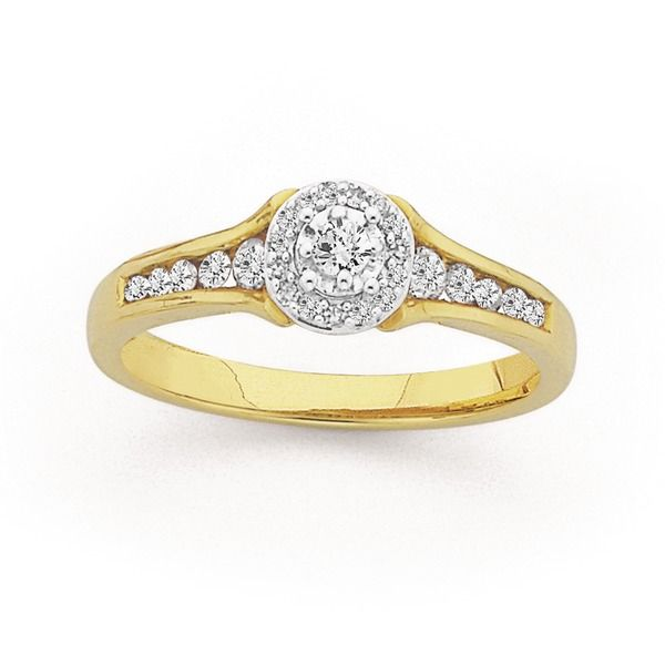 9ct Gold Diamond Halo Engagement Ring With Shoulder Stones