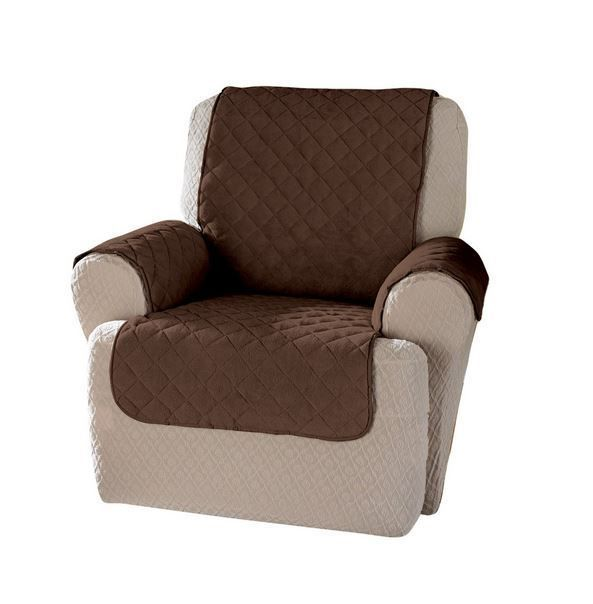 Plush Chair Guard Protector Slipcover Pets Kids Spills Recliner Seat Cover  Brown #ITS #QuiltStitch