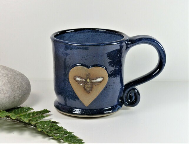 Lovely Blue Bee Mug - Handmade Wheelthrown Ston... - Folksy