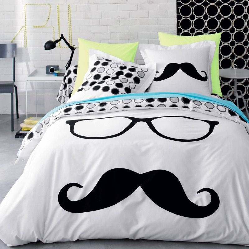 Dekbedovertrek in katoen moustache the kids are allright pinterest modetrends - Deco hoofdslaapkamer ...