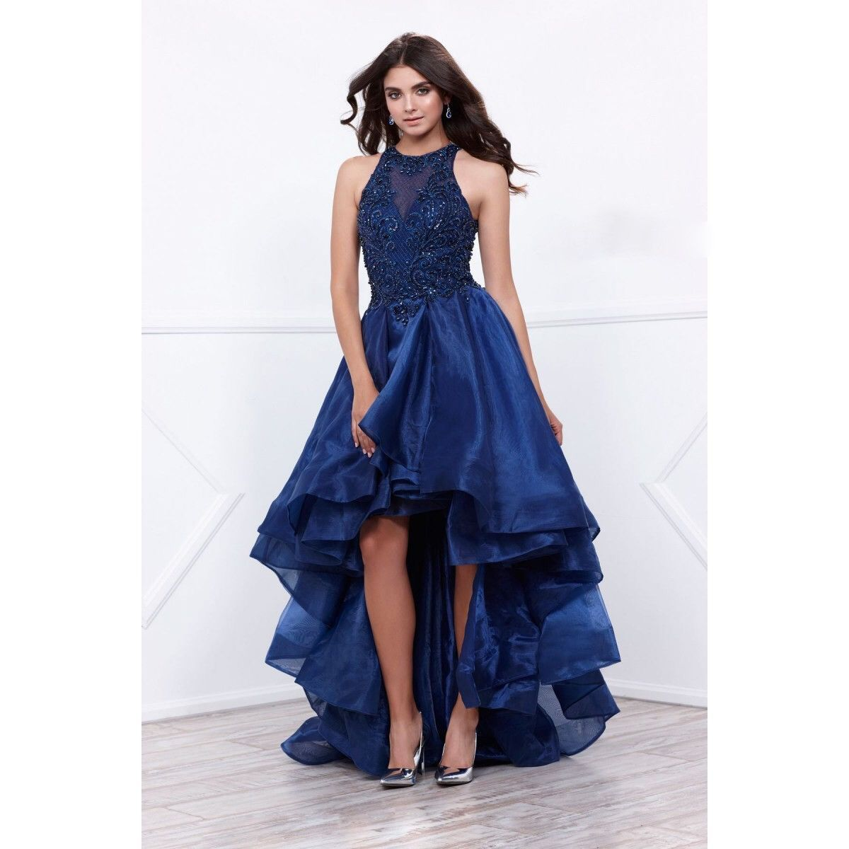 affordable navy high low prom dress evening gown in blue