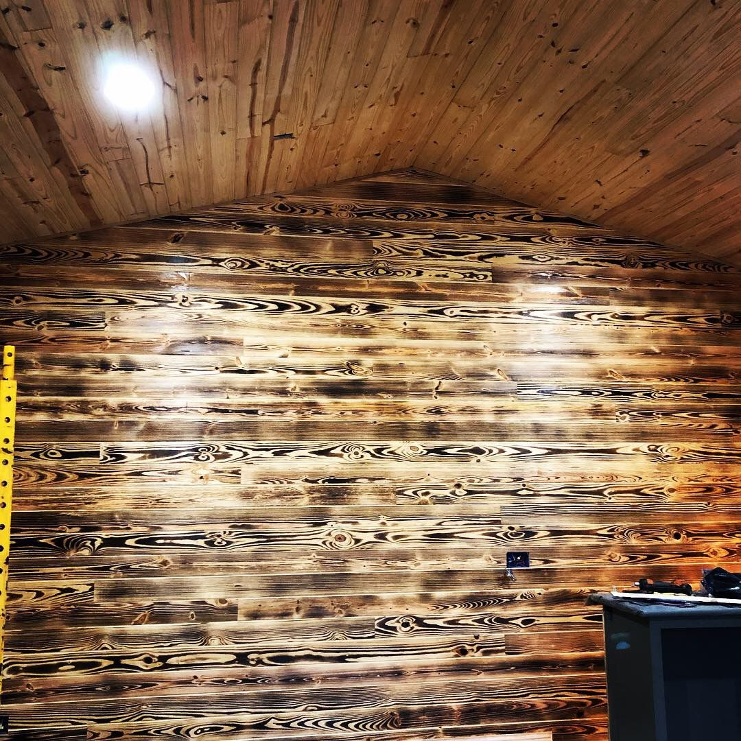 "Pine Accent Wall: Accent Wall ""Burnt Pine"""