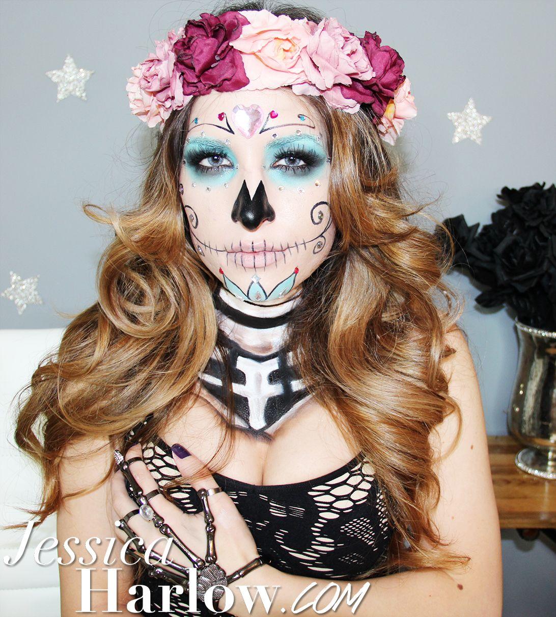 Sugar Skull Halloween Costume Makeup http://www.youtube.com/watch ...