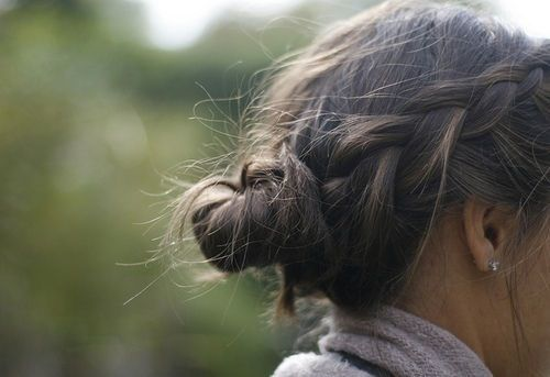 bun updo with braid brunette hair