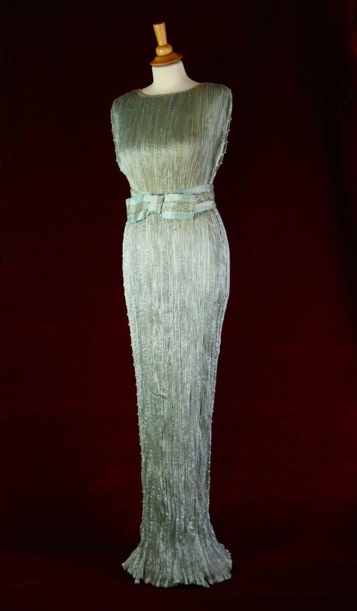Mariano Fortuny Dress Delphos Aquamarine Pleated Silk Gown Stenciled