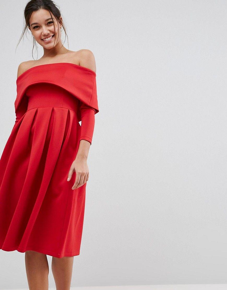 Bardot long sleeve dip back midi prom dress cute clothes