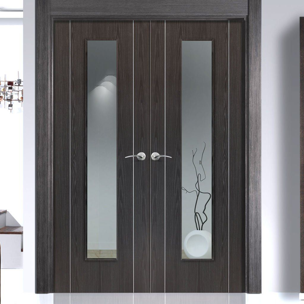 The beautiful Eco Colour Argento Ash Grey Flush Painted Door Pair with Clear Safety Glass is pre-finished. #ashgreydoorpair #contemporarydoors #moderndoordesign
