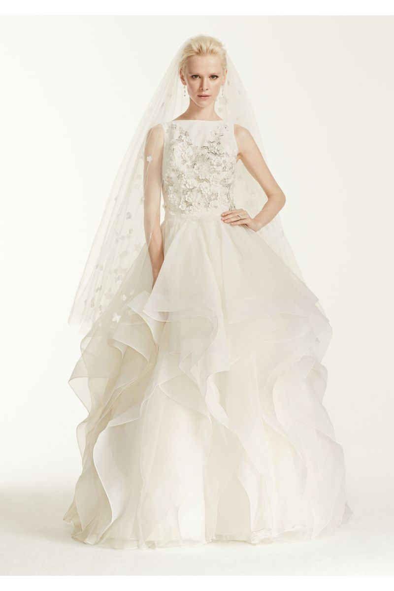 Oleg cassini high neck d floral wedding dress style cmb
